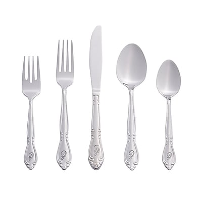 RiverRidge Home Products 5417-843-Z Rose 18/0 Stainless Steel 46 Piece Monogrammed Flatware Set