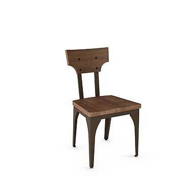 Amisco – Chaise en métal de la collection Station avec assise et dossier en bois patiné, 2/paquet, brun (31261-WE/2B7487)