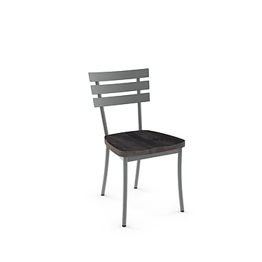 Amisco – Chaise Stadium en métal avec siège en bois d'aspect vieilli, 2/pqt, gris (31266-WE/2B2484)