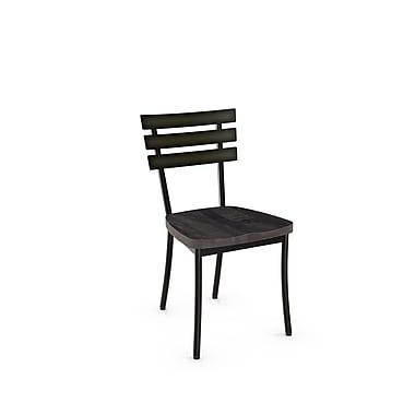 Amisco – Chaise Stadium en métal avec siège en bois d'aspect vieilli, 2/pqt, gris (31266-WE/2B5184)