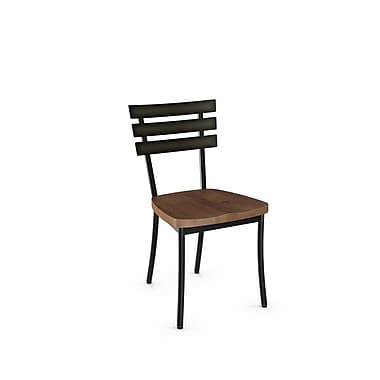 Amisco 31266-WE/2B5187 Stadium Metal Chair with Distressed Wood Seat, 2/Pack, Grey