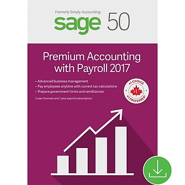 Sage 50 Pro Accounting with Payroll 2017, bilingue [Téléchargement]