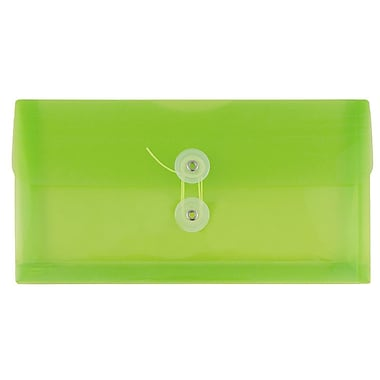 JAM Paper® #10 Plastic Envelopes with Button and String Tie Closure, 5.25 x 10, Lime Green Poly. 24/Pack (921B1LIg)