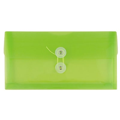 JAM Paper® #10 Plastic Envelopes with Button and String Tie Closure, 5 1/4 x 10, Lime Green Poly. 12/pack (921B1LI)