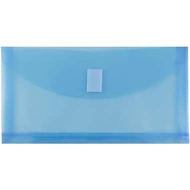 JAM Paper® #10 Plastic Envelopes with VELCRO® Brand Closure, 1 Expansion, 5 1/4 x 10, Blue Poly, 12/pack (921V1BU)