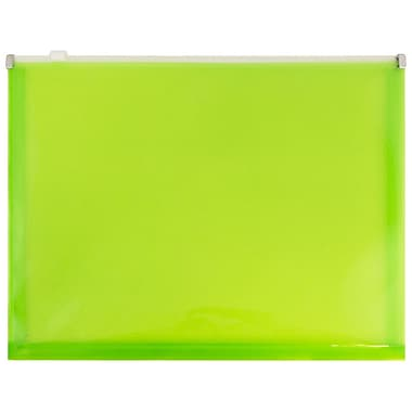 JAM Paper® Plastic Envelopes with Zip Closure, Letter Booklet, 9.5 x 12.5, Lime Green Poly, 12/Pack (218Z1LI)