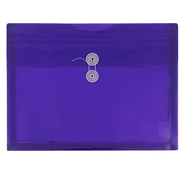 JAM Paper® Plastic Envelopes with Button and String Tie Closure, Letter Booklet, 9.75 x 13, Purple Poly, 12/Pack (218B1pu)