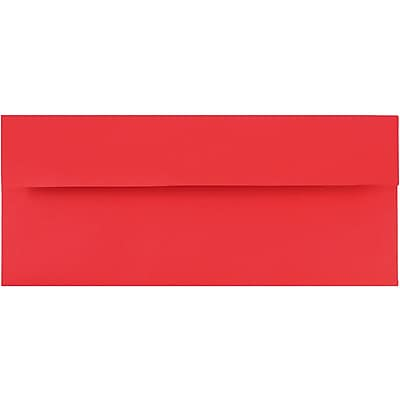 JAM Paper® #10 Business Envelopes, 4 1/8 x 9 1/2, Brite Hue Red Recycled, 50/pack (67161I)