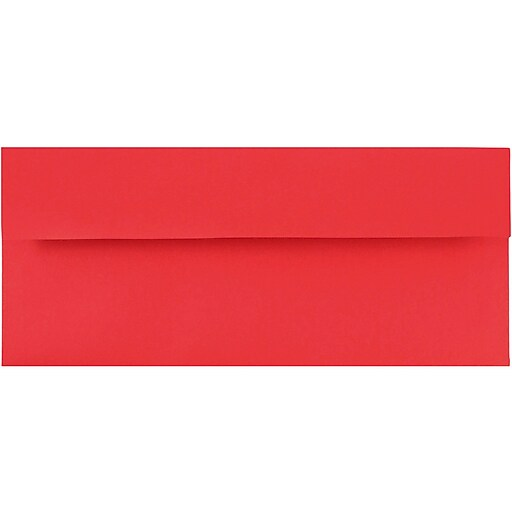 JAM Paper® #10 Business Colored Envelopes, 4.125 x 9.5, Red Recycled, Bulk 1000/Carton (67161B)