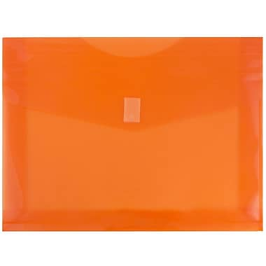 JAM Paper® Plastic Envelopes with VELCRO® Brand Closure, 2 Expansion, Letter Booklet, 9.75 x 13, Orange Poly, 12/Pack (218V2or)