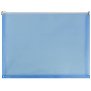 JAM Paper® Plastic Envelopes with Zip Closure, Letter Booklet, 9.5 x 12.5, Blue Poly, 12/Pack (218Z1bu)