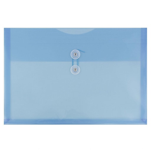 JAM Paper® Plastic Envelopes with Button and String Tie Closure, Legal Booklet, 9.75 x 14.5, Blue, 12/Pack (219B1BU)