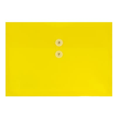 JAM Paper® Plastic Envelopes with Button and String Tie Closure, Letter Booklet, 9.75 x 13, Yellow Poly, 12/pack (218B1YE)