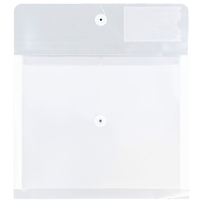 JAM Paper® Plastic 2 Divider Envelopes, Button String Tie Closure, Letter Booklet, 10.5 x 11.75 x1.5, Clear Poly, 12/pk (JSF228)
