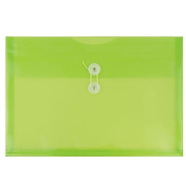 JAM Paper® Plastic Envelopes with Button and String Tie Closure, Letter Booklet, 9.75 x 13, Lime Green Poly, 108/pack (218B1LIB)