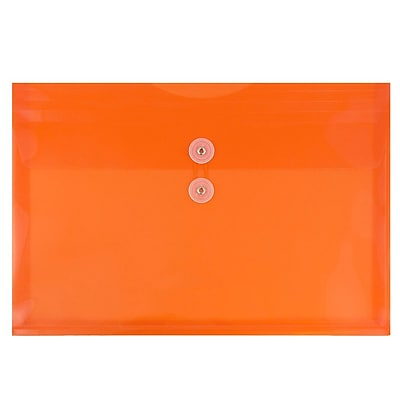 JAM Paper® Plastic Envelopes with Button and String Tie Closure, Letter Booklet, 9.75 x 13, Orange Poly, 12/pack (218B1OR)
