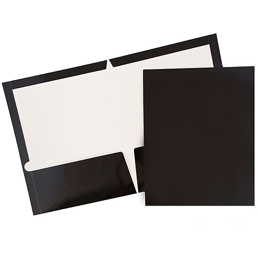 Jam Paper Laminated Two Pocket Glossy Presentation Folders Black 6 Pack 385gbla