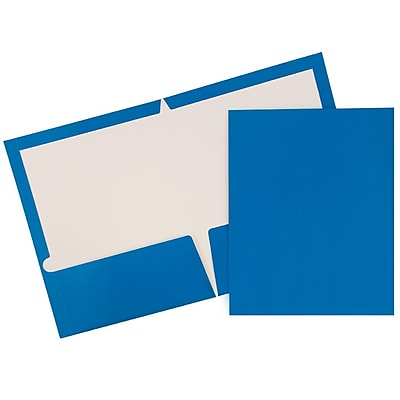 JAM Paper® 2 Pocket Laminated Glossy Presentation Folders, Blue, 25/Pack (385GBUD)