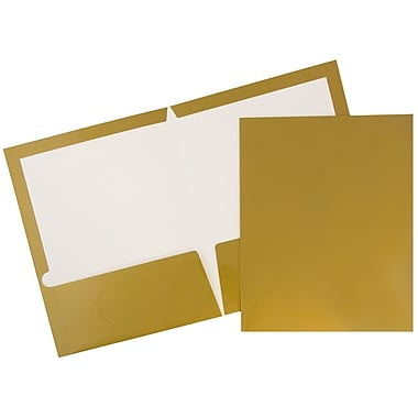 JAM Paper® 2 Pocket Laminated Glossy Presentation Folders, Gold, 25/Pack