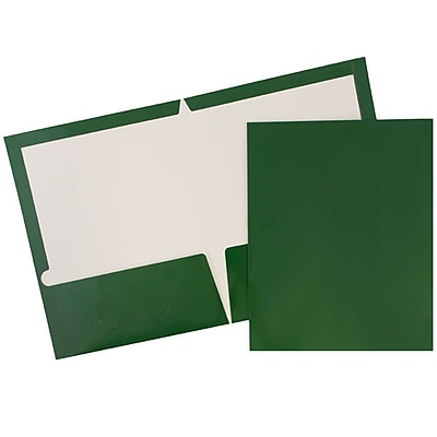 JAM Paper® Glossy Two Pocket Presentation Folders, Green, 100/pack (5042560B)