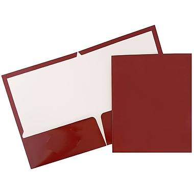 JAM Paper® Glossy Two Pocket Presentation Folders, Maroon Burgundy, 100/pack (V0312403B)