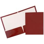 JAM Paper® Glossy Two Pocket Presentation Folders, Maroon Burgundy, 100/pack (V0312403B)