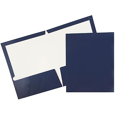 JAM Paper® 2 Pocket Laminated Glossy Presentation Folders, Navy Blue, 50/Box (5042523C)