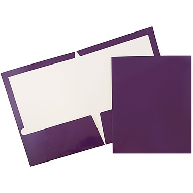 JAM Paper® Glossy Two Pocket Presentation Folders, Purple, 100/pack (385GPUB)