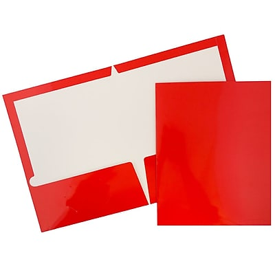 JAM Paper® Glossy Two Pocket Presentation Folders, Red, 100/pack (385GREB)