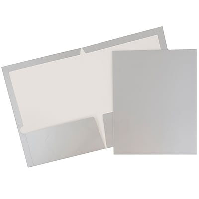 JAM Paper® Glossy Two Pocket Presentation Folders, Silver, 100/pack (385GSIB)