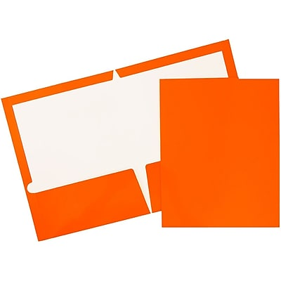 JAM Paper® Glossy Two Pocket Presentation Folders, Orange, 6/pack (385GORA)