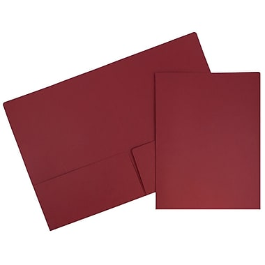 JAM Paper® Premium Paper Cardstock Two Pocket Presentation Folders, Dark Red, 100/pack (2166613305B)