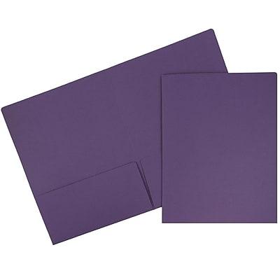JAM Paper® Premium Paper Cardstock Two Pocket Presentation Folders, Dark Purple, 6/pack (5166613304D)
