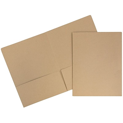JAM Paper® Premium Paper Cardstock Two Pocket Presentation Folders, Brown Kraft Paper Bag, 100/pack (5166617481B)
