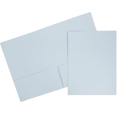 JAM Paper® Premium Paper Cardstock Two Pocket Presentation Folders, Baby Blue, 100/pack (28876674B)