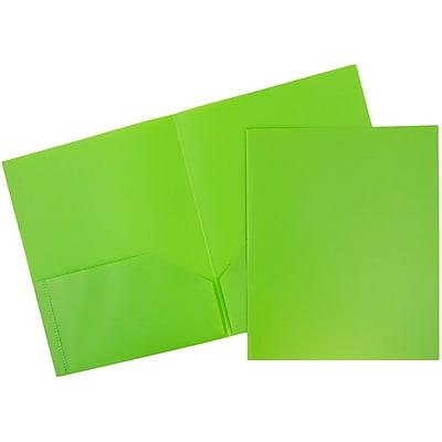 JAM Paper® Plastic 2 Pocket Pop School Folders, Lime Green, 96/pack