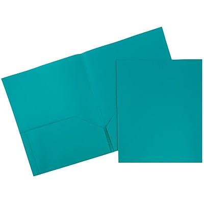 JAM Paper® Plastic 2 Pocket Pop School Folders, Teal, 96/pack