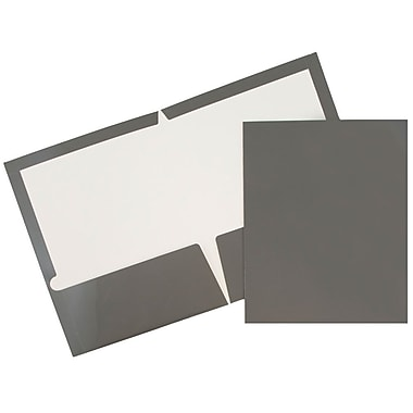 JAM Paper® Glossy Two Pocket Presentation Folders, Grey, 6/pack (31225352U)