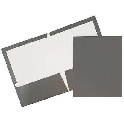 JAM Paper® Glossy Two Pocket Presentation Folders, Grey, 6/pack (31225352U)