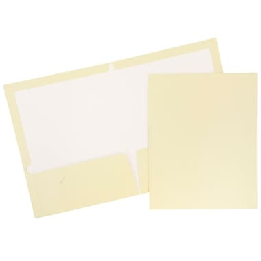JAM Paper® Glossy Two Pocket Presentation Folders, Ivory, 6/pack (385GIVA)