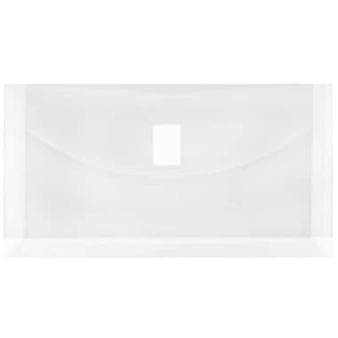 JAM Paper® #10 Plastic Envelopes with VELCRO® Brand Closure, 1 Expansion, 5.25 x 9.5, Clear Poly, 12/pack (921V1CL)