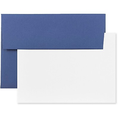 JAM Paper® Stationery Set, 25 White Cards and 25 A7 Envelopes, Presidential Blue, set of 25 (304624620)