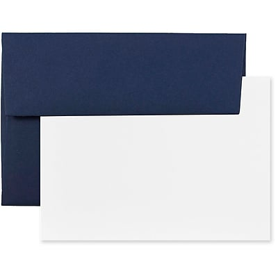 JAM Paper® Stationery Set, 25 White Cards and 25 A2 Envelopes, Navy Blue, set of 25 (304624614)