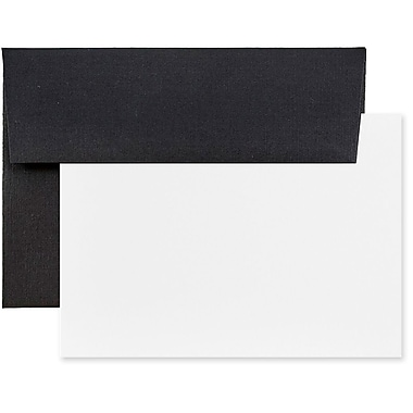 JAM Paper® Recycled Stationery Set, 25 White Cards and 25 A6 Envelopes, Black Linen Recycled, 100/Pack (304624587g)