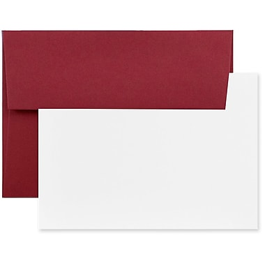 JAM Paper® Stationery Set, 50 White Cards and 25 A6 Envelopes, Dark Red, 4 packs of 25 (304624611g)