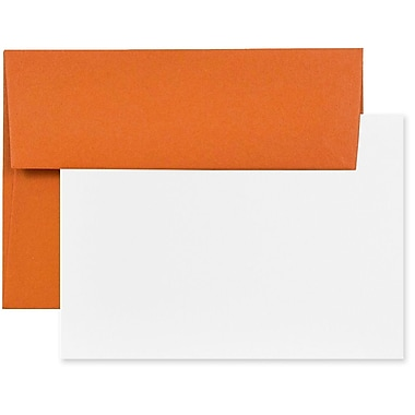 JAM Paper® Stationery Set with 100 White Cards and 100 A7 Envelopes, Dark Orange, 100 Sets/Pack (304624604g)