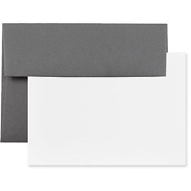 JAM Paper® Stationery Set, 50 White Cards and 25 A6 Envelopes, Dark Grey, 100/Pack (304624599g)