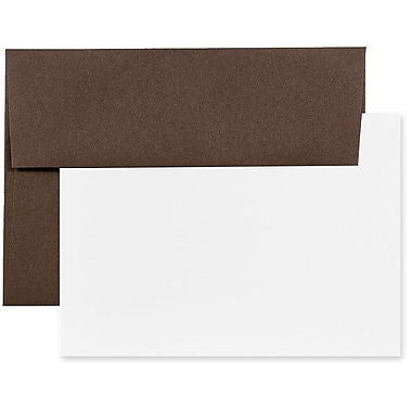 JAM Paper® Recycled Stationery Set, 25 White Cards and 25 A6 Envelopes, Chocolate Brown, 100/Pack (304624595g)