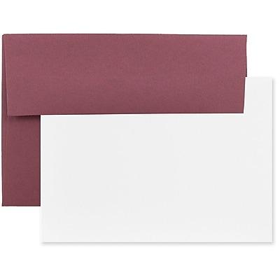 JAM Paper® Stationery Set, 25 White Cards and 25 A7 Envelopes, Burgundy, set of 25 (304624592)