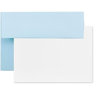 JAM Paper® Stationery Set, 25 Cards and 25 4bar A1 Envelopes, Baby Blue, set of 25 (304624577)